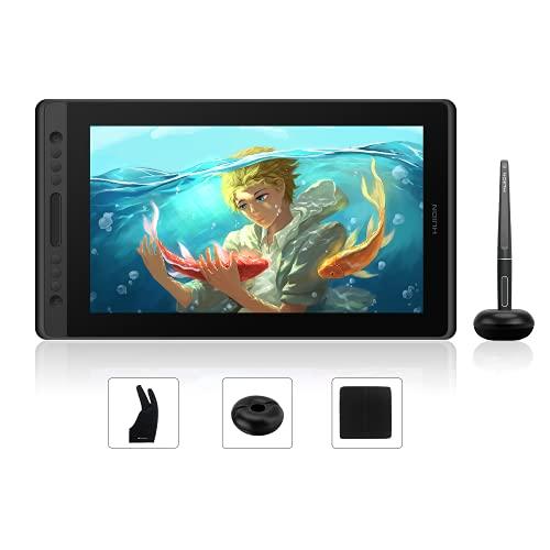 HUION Kamvas Pro 16 Grafiktablett mit Bildschirm Drawing Tablet mit Tilt-Funktion & 6 Drucktasten+1 Touch-Leiste, Geeignet für Chromebook, Windows und Mac -Perfekt für Fernunterricht