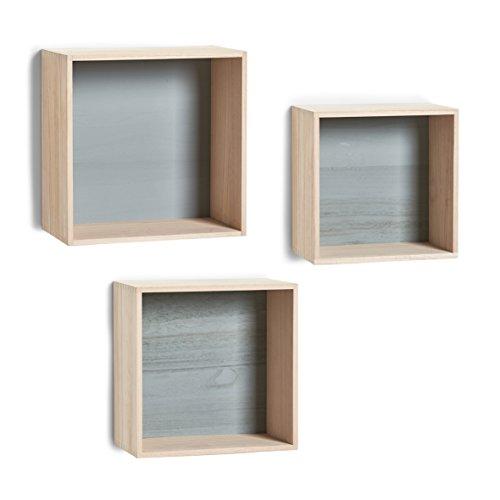 Zeller 15144 Cubes - Juego de estantes de Pared (3 Unidades, Madera, Madera), Color Gris