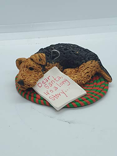 AIREDALE CHRISTMAS ORNAMENT Lying on Braided Rug with note'.Dear Santa, I can explain.' Hand Made OOAK Polymer Clay
