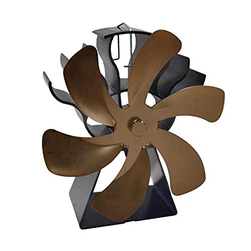 POHOVE - Ventilatore a legna per camino, in alluminio, 6 pale per stufe a gas, pellet, legna e legna (bronzo)