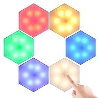 クリエイティブウォールランプDIY調光可能なタッチナイトライト屋内RGBタイミング雰囲気灯屋内ユニークな装飾簡単インストール(6 PC)