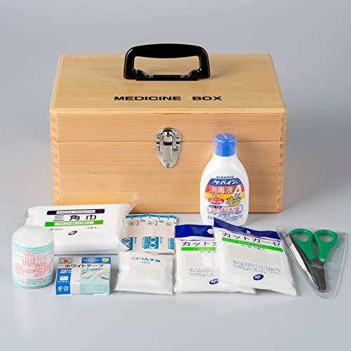 応急手当用品9点セット 木製製救急箱 救急セット スポーツ 防災 事業者向け 労働安全衛生規則準拠 防災