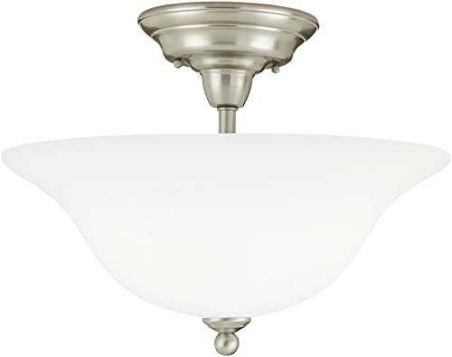 high quality Sea Gull Lighting 75061-962 online sale Sussex Three-Light Semi-Flush Mount Ceiling Light popular with Satin White Glass Shade, Brushed Nickel Finish sale