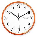 DECOWALL DSH-H22OR 8.8' Sin Tictac Reloj de Pared Silencioso Bricolaje Moderno Decoración para Hogar Habitación Vivienda Dormitorios Oficina Cocina (22.5cm, Naranja)