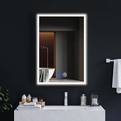 DICTAC spiegelschrank Bad Metall mit LED-Beleuchtung und Steckdose 72x13.5x50cm 3 Farbtemperatur dimmbare mit Touch-Schalter Defogging-Funktion badspiegel mit Europäische Konverter Britische Stecker
