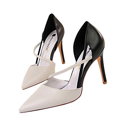 Minetom Sandalias De Verano Mujeres Puntiagudas Dedo del Pie Finos Tacones De Boda Zapatos De Fiesta Sandalias B Gris 38 EU