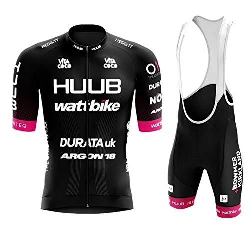 AJL Huub Jersey de Ciclismo Negro para Hombre, Manga Corta,