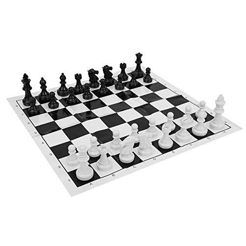 YLLN Juego de Tablero de ajedrez Internacional de plástico de ajedrez portátil, Juego de ajedrez de Entretenimiento Medieval, Tablero de ajedrez Blanco y Negro para Actividades de Fiesta