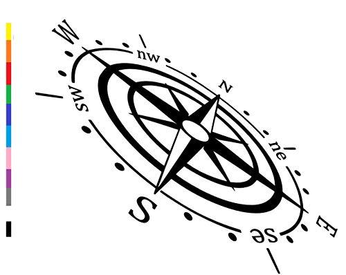 generisch Kompass Aufkleber für Wohnmobil Caravan Auto Aufkleber,Wandtattoo, Silhouette Aufkleber (262/3) (Dunkelgrau matt, 20x10cm)