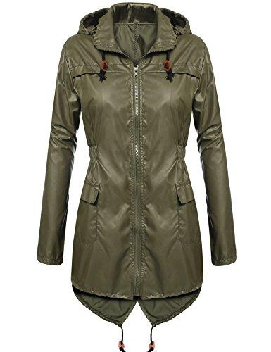 Beyove Damen Polk Dots Outdoor Funktions Regenjacke - Wassersäule - Atmungsaktivität Herbst Sommer Outdoorjacke (EU 42(Herstellergröße: XL), Armee grün)