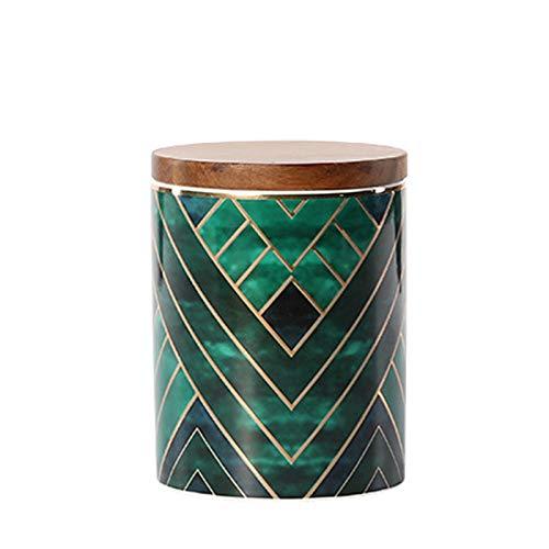 Keramikdosen, exquisite orientalische grüne Keramikdosen für die Küche, Gewürzaufbewahrung, Teedose, Kaffeedose mit Holzdeckel (12,8 x 9,8 cm)