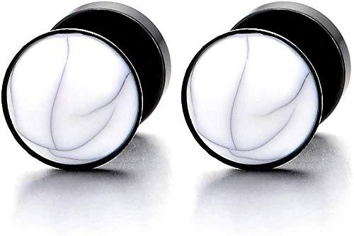 NC188 Pendientes de botón para Mujer para Hombre con Bola de Piedras Preciosas Tapones para los oídos Falsos de Acero Inoxidable calibres 2 Piezas