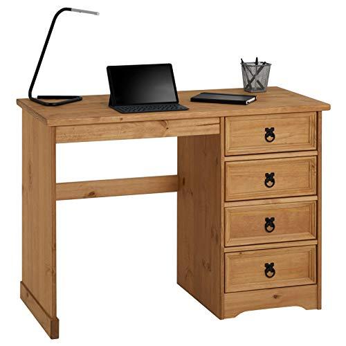 CARO-Möbel Schreibtisch Salsa im Mexiko Stil, eleganter Computertisch aus massiver Kiefer, Bürotisch mit Schubladen, gebeizt und gewachst