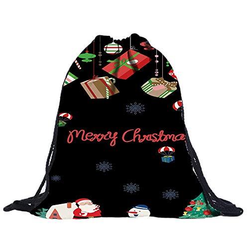 3D Digital Print Bouquet Pocket Rucksack Sporttaschen Gym Sack Turnbeutel Sportbeutel Weihnachten Christmas Unisex Wasserdicht FüR Fitness Non-Woven Taschen Kordelzug Frauen Tasche(C,30cmx1cmx39cm)