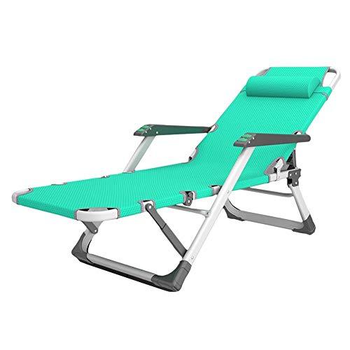 LWW Sillas, tumbonas verde plegables con brazos, al aire libre para acampar, Jardín posiciones ajustables silla reclinable