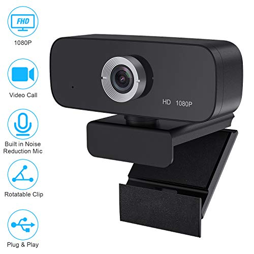 1080P Webcam with Microphone, Streaming Webcam Camera USB Plug and Play Compatible with Desktop Laptop MacBook for Video Calling Recording Conferencing Webcams