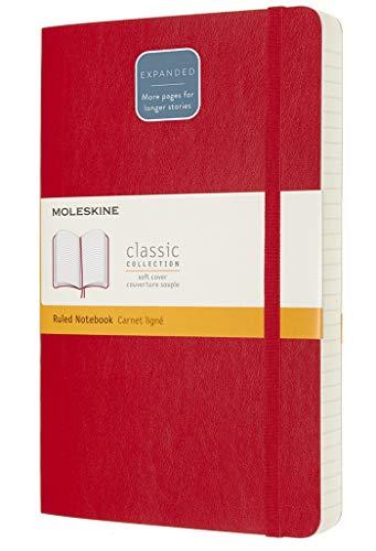 Moleskine - Classic Notebook Expanded, Taccuino a Righe, Copertina Morbida e Chiusura ad Elastico, Formato Large 13 x 21 cm, Colore Rosso Scarlatto, 400 Pagine