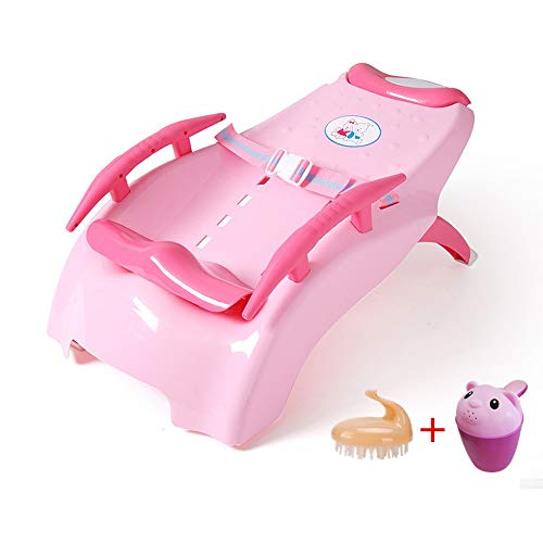 ETERN Baby Shampoo Bed Child Shampoo Chair Foldable Adjustment Stool for Toddler Baby Shampoo Bed Child Shampoo Chair Foldable Adjustment Stool (Color : Pink, Size : M.)