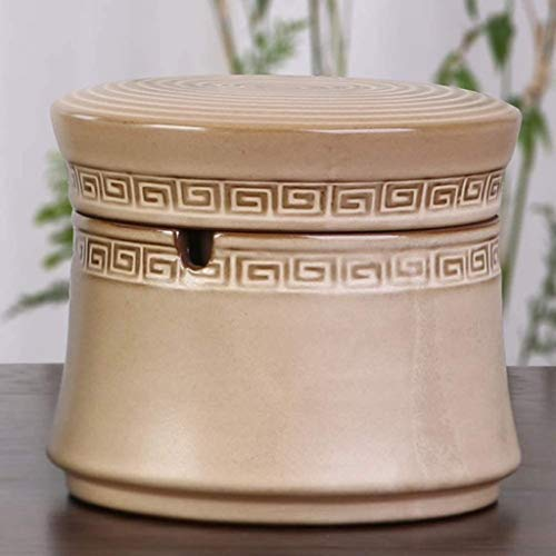 Cenicero 86XH creativo retro personalidad doble uso salón oficina tendencia cerámica a prueba de viento cenicero con tapa 10,5 x 9,2 cm, 10,5 x 9,2 cm PinBaiYa (tamaño: 10,5 x 9,2 cm)