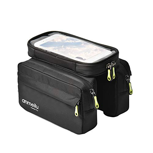 DGHAO Bicycle Frame Bag Accessories Waterproof Nylon Cycling Storage Front e Touch Screen Zipper Large Capacity Phone Case Pannier Mountain Bike Outdoor Portable