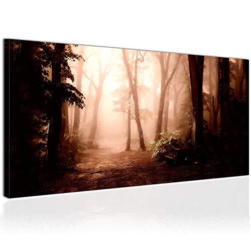 Topquadro XXL Wandbild, Leinwandbild 100x50cm, Dunkler Waldweg mit Nebel bei Sonnenaufgang - Wald und Herbst - Panoramabild Keilrahmenbild, Bild auf Leinwand - Einteilig