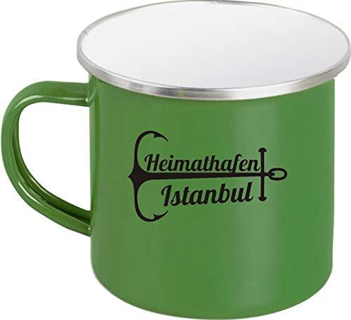 Shirtinstyle EMAILLE Kaffeepott Tasse Heimathafen Istanbul, Kaffeetasse Becher Retro Camping, Farbe Grün