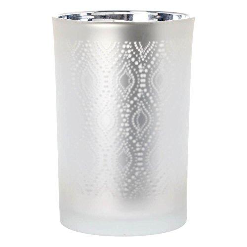 Riverdale windlicht/vaas van glas met ornamentpatroon wit/zilver 18 cm - bloemenvazen - theelicht - lantaarn - Kerstmis - decoratie-idee - cadeau-idee - bruiloft - kerstfeest