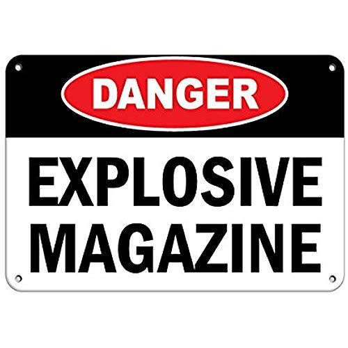 GIKIM Tin Warning Sign Metal Wall Decoration Vintage Retro Collection Danger Explosive Magazine Hazard Sign Flammable Road Sign Business Sign 12X16 Inches Aluminum Metal Tin Sign