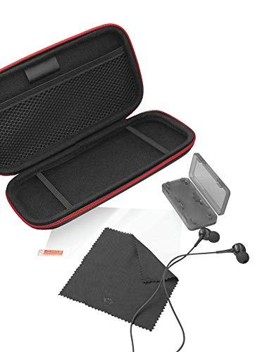 Kit 4 em 1 para Nintendo Switch Lite Trust Tidor XL GXT 1241 Case Preto + Fone + Película + Case para Cartucho de Jogo