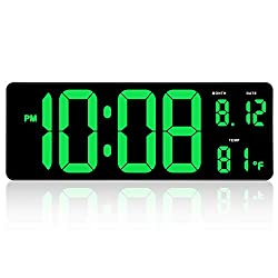 DreamSky 14.5 Large Digital Wall Clock with Date Indoor Temperature Display, Over Sized Desk Office Led Clocks with Fold Out Stand, Large Number Display, Plug in Clock with Auto DST