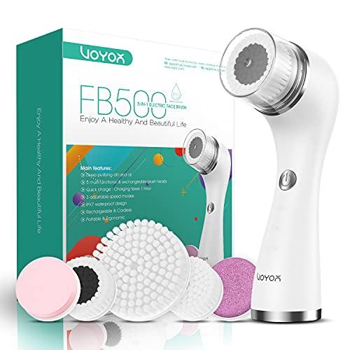 VOYOR Gesichtsreinigungsbürste Wiederaufladbar, Spin Face Brush Wasserfestes 5-IN-1 Körperbürstenset für tiefe Hautreinigung, sanftes Peeling und Massage FB500