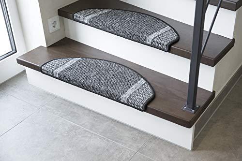 andiamo Stufenmatte Runner Set für Treppenstufen Treppenmatte halbrund 15-Stück, anthrazit, 28x65 cm
