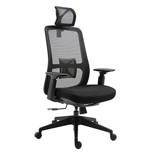 Sigtua, Ergonomischer Bürostuhl office Stuhl Schreibtischstuhl Chefsessel drehbarer PC Stuhl Höhenverstellbarer Ergonomischer Computerstuhl mit Armlehnen, Schwarz