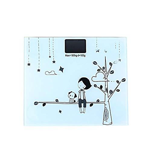 Elektronische weegschaal Digitale weegschaal Cute Cartoon lichaamsgewichtschaal met achtergrondverlichting Display Body Weighing Tool, wit