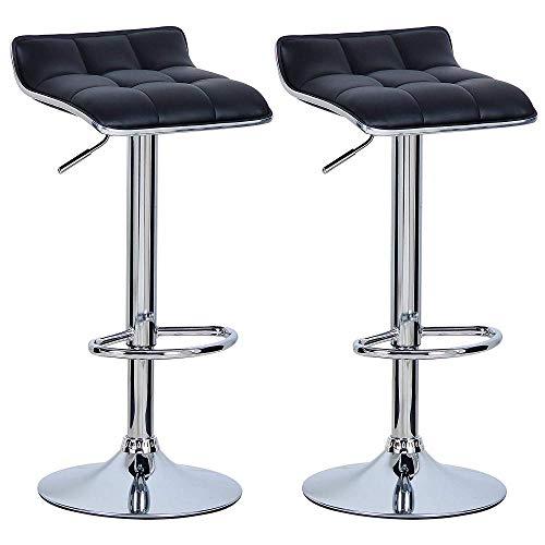 Zplyer Barkruk retro eetkamerstoel moderne minimalistische hoge kruk geschikt voor café-restaurant 2-delige kunstleren buitenkant/verstelbare gasdraailift/voetensteun en onderstel van chroomstaal zwart
