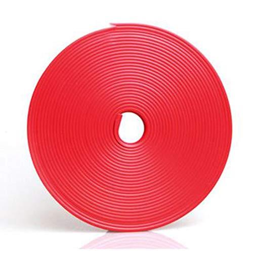 Vektenxi Tiras decorativas para el interior del coche, tiras para decoración interior, línea para puerta, salpicadero, volante, tira flexible de sellado, color rojo