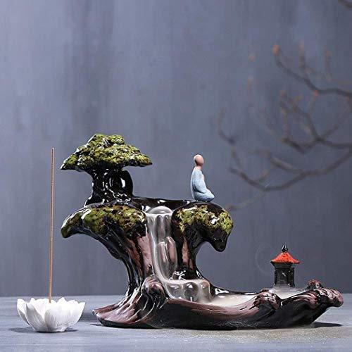 Bruciatore di incenso zen a riflusso, in ceramica, a forma di montagna con cascata, con supporto per bastoncini di incenso a forma di fior di loto, con 10 coni in omaggio