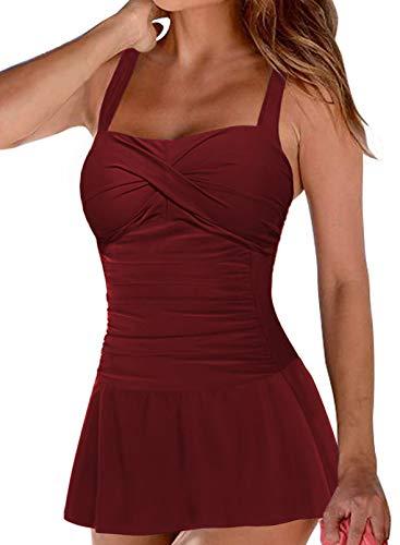 CORAFRITZ Damen-Badeanzug, sexy, einfarbig, gerüscht, Bauchkontrolle, ärmellos, Cami Gr. L, rot