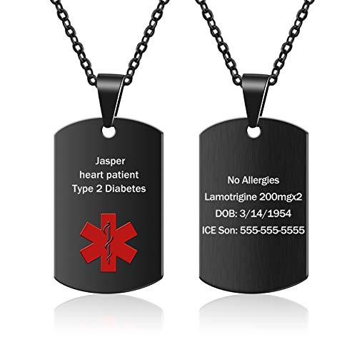 Medical Alert Necklace for Men Women Stainless Steel Engraved Medical ID Tag Emergency Med Alert Necklace for Men & Women Medical Alert Jewelry (Black)