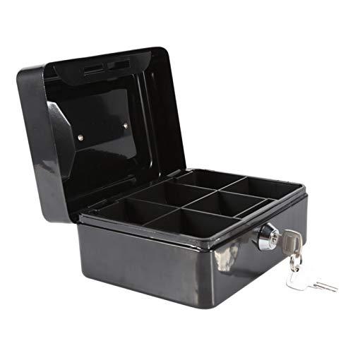 Caja de seguridad - 1 unidad Mini portátil de acero con cerradura pequeña Caja de seguridad segura para monedas en efectivo para el hogar Nuevo(Negro)