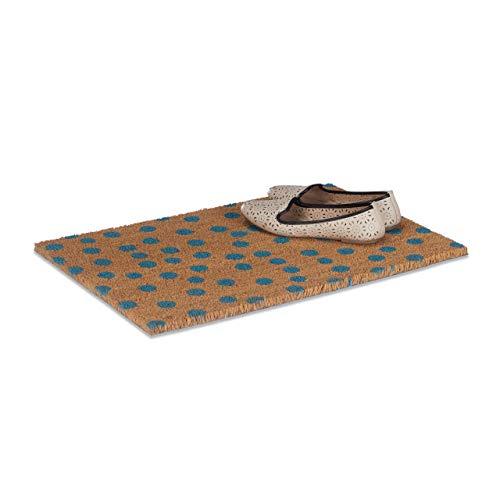Relaxdays Fußmatte Punkte aus Kokos, HxBxT: 1,5 x 60 x 40 cm, rechteckig, rutschfest, Kokosfasern, Gummi, natur-blau