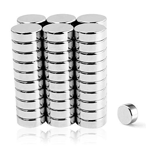 Sunshine smile Neodym Magnete 60 Stück, Runde Kleine Magnets,Permanent Magneten, Extra Stark Neodym-Magnet,Mini-Magnetscheibe,5 Größen Magnettafel,für Kühlschrank,Whiteboard,Pinnwand (Silver-60)