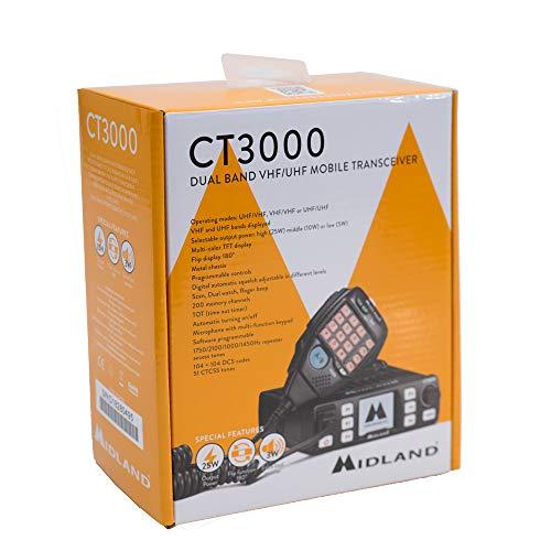 PMR Radio VHF/UHF Mobile Midland CT3000 Dualband 144-146 et 430-440MHz Cod