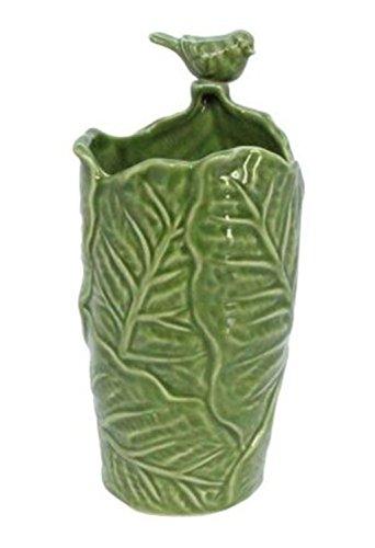 Gisela Graham Vert Motif Feuille avec Oiseau Vase en Céramique