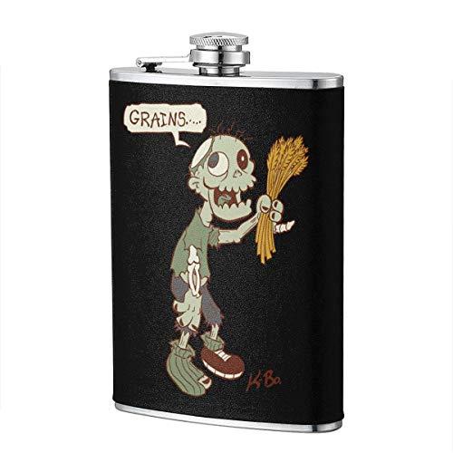 Zombie Wants Grains - Petaca para frasco de licor, vino, diseño de bandera divertido, 8 onzas