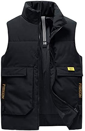Snhpk Men's Cotton Vest Outerwear Gilets Coat Softshell Jacket, Winter Thicken Warm Windproof Overcoat Waistcoat,Black,L