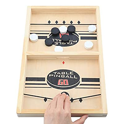 Fast Sling Puck Game Paced ,Table Desktop Battle Ice Hockey Game/Winner Board Games, Interactive for Family Party,Tabletop Slingshot Games Toys for Adults and Kids(13.7 in x 8.6 in)