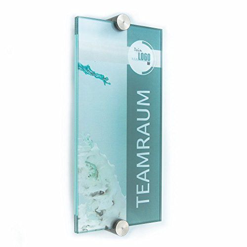Türschild Glas,Vitrum K2, Klemmhalter (200/100 mm)