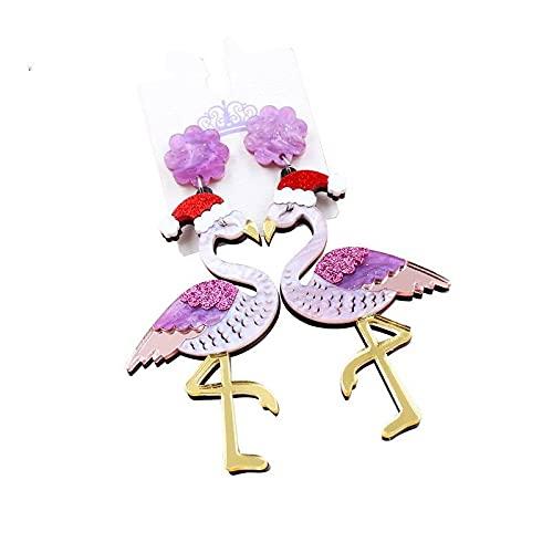 Pendiente De Botón De Navidad - Acrílico Brillante Lindo Use Un Sombrero Pendiente De Oreja De Flamenco Colgante, Pendientes De Gota De Navidad Hechos A Mano Joyería Para Niñas Mujeres Regalos D