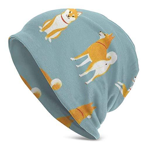 Cute Shiba Inu Puppy Slouch Skull Cap Forro de Casco elástico Suave, Gorro cálido Lavable, Hombres Mujeres Beanie Knit Sombreros, Chica Adolescente